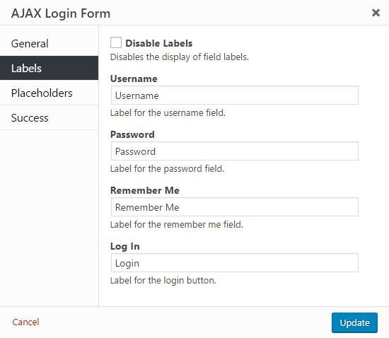 AJAX Login Modals Labels Settings