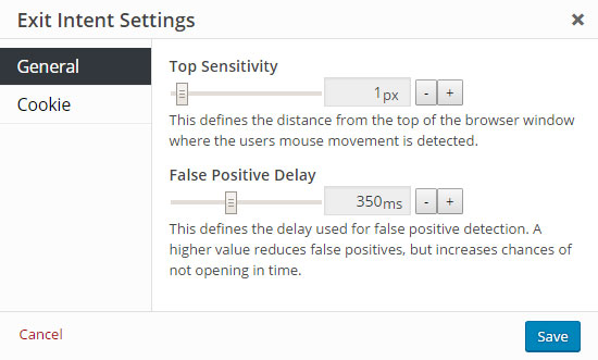 Exit Intent Default False Positive Delay